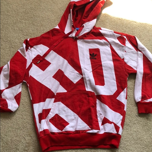 really cheap exclusive deals pick up Adidas Hoodie red and white